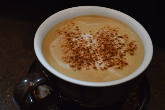 Espresso Love Coffee in Mukwonago serves a maple leaf latte that has espresso, maple syrup and steamed milk. It's topped with cinnamon.
