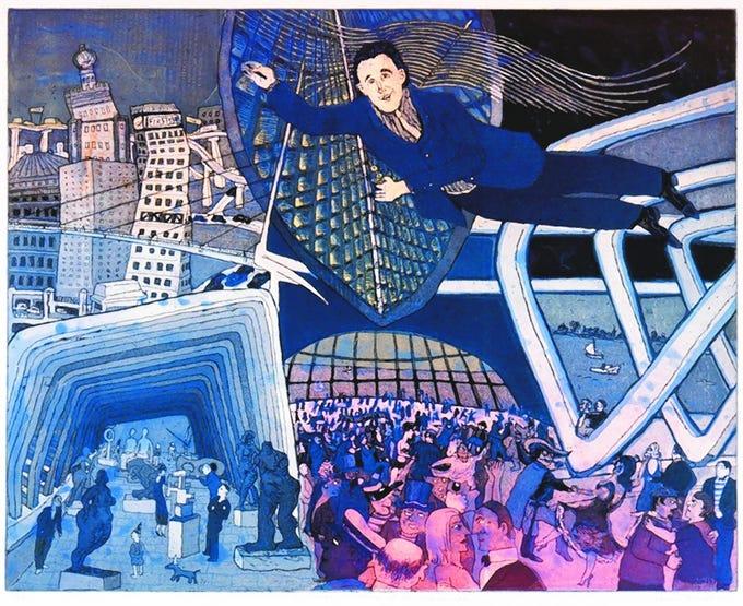 """Santiago Calatrava at the Bal du Lac"" (2001) by Warrington Colescott"