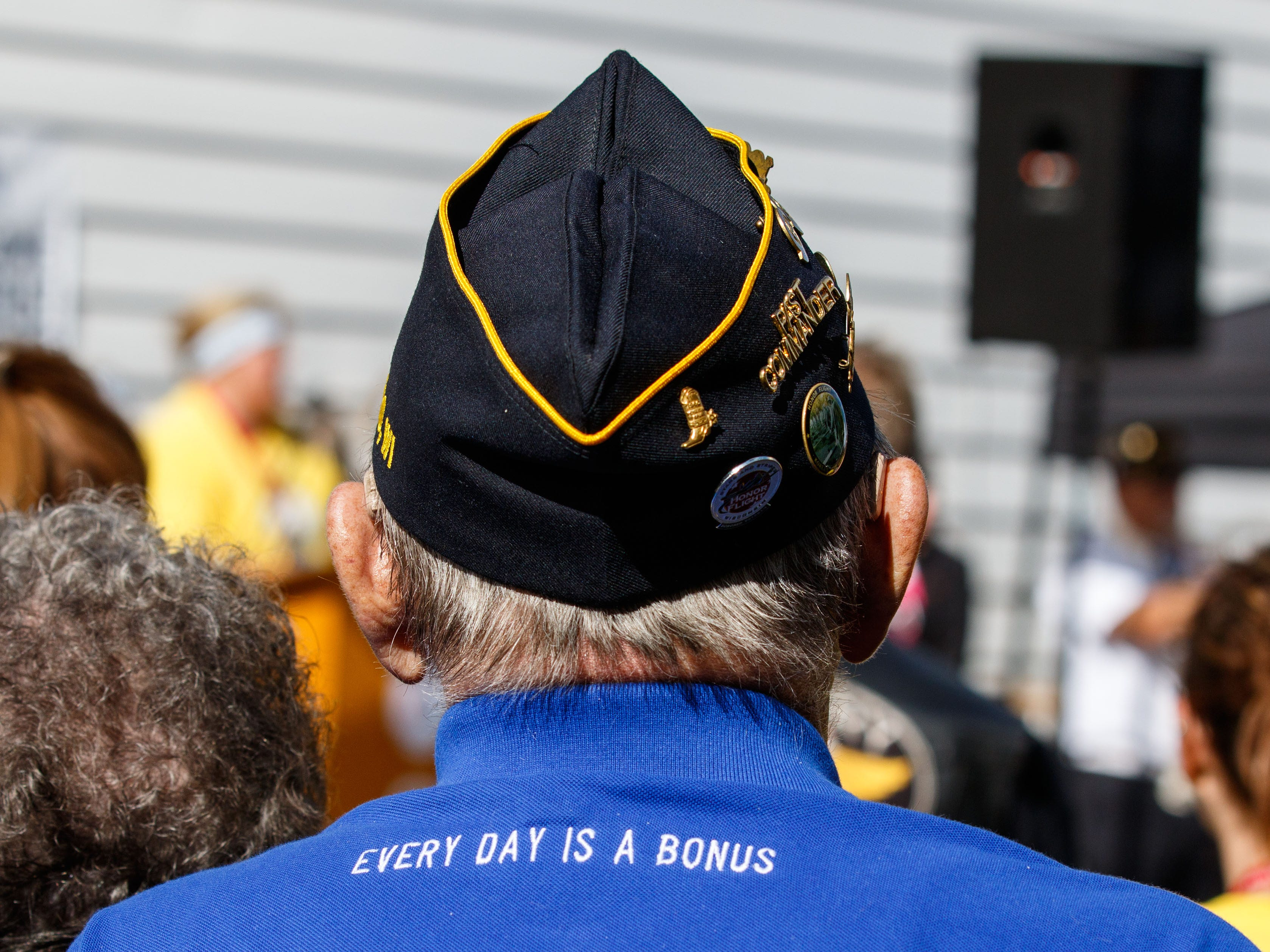 """A veteran watches the ceremony prior to the Angels of the Road """"Ride for Veterans"""" inaugural benefit ride hosted by the Henrizi-Schneider American Legion Post 382 in Menomonee Falls on Sunday, Sept. 9, 2018. Proceeds from the ride will benefit the Milwaukee Homeless Veterans Initiative."""