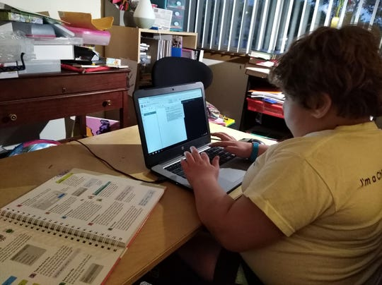 "Students at schools across the state are participating in ""virtual learning,"" working from computers at home and connecting with teachers through a variety of programs."