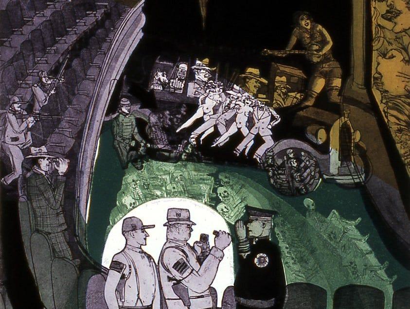 Racine Art Museum showed several Dillinger-inspired artworks by Warrington Colescott