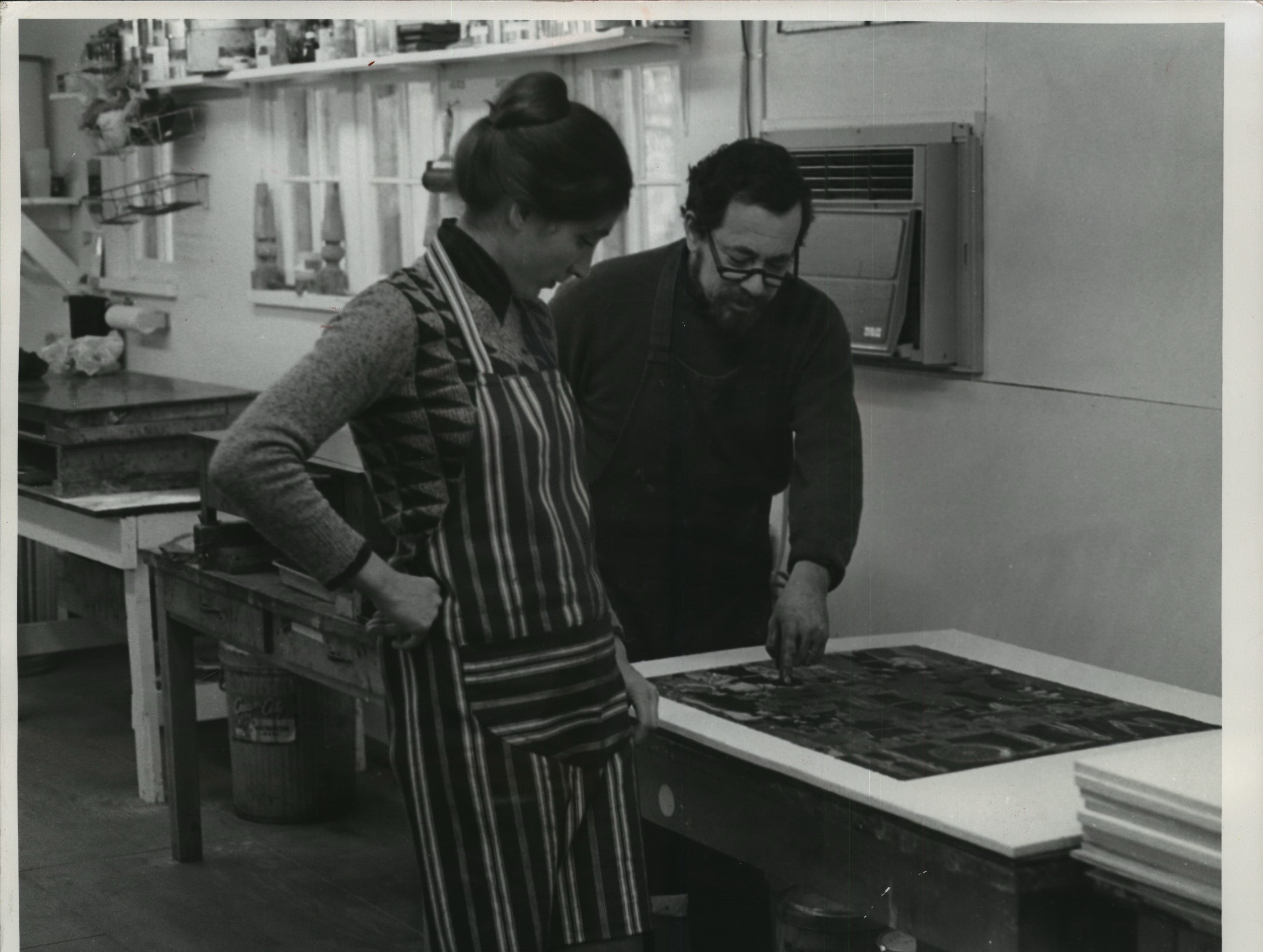 1976: Frances Myers and Warrington Colescott work in their Hollandale studio.