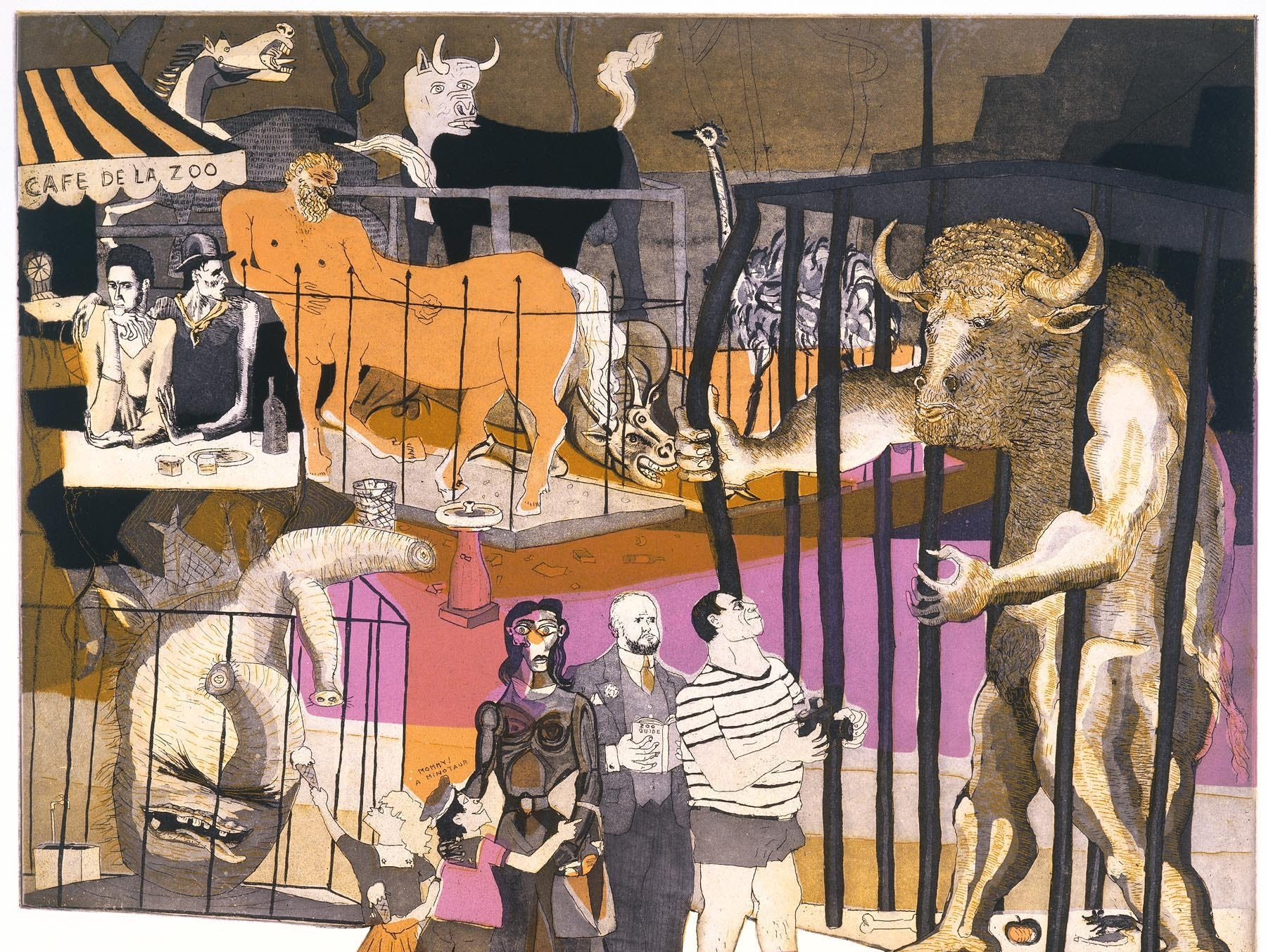 """""""The History of Printmaking: Picasso at the Zoo"""" by Warrington Colescott"""