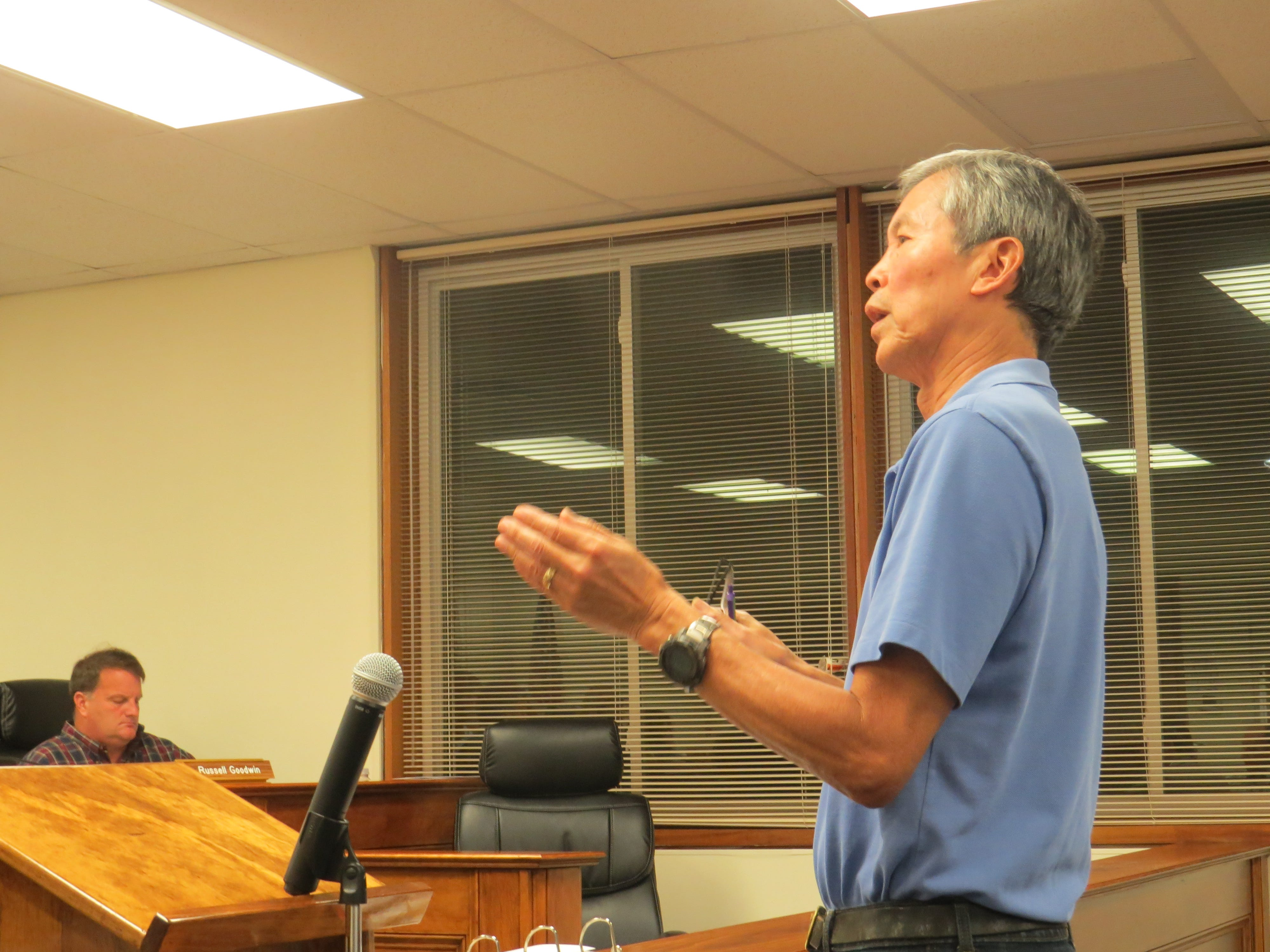 Chester Historical Society President Edward Ng speaks about the fate of the Larison's Turkey Farm propertyat the Chester Council meeting on Sept. 18, 2018.