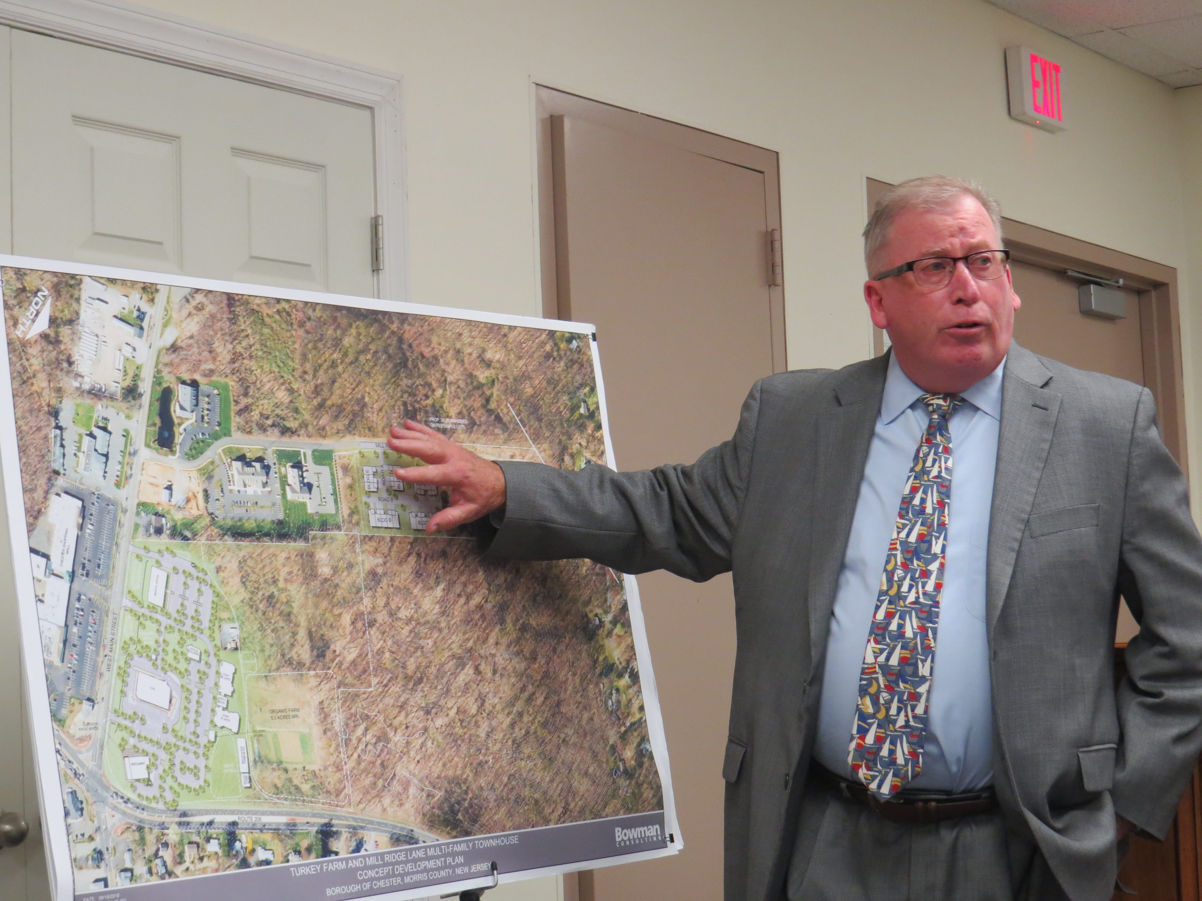 Engineer Bill Hamilton provides an overview of a redevelopment proposal for Larison's Turkey Farm property at the Chester Council meeting on Sept. 18, 2018.