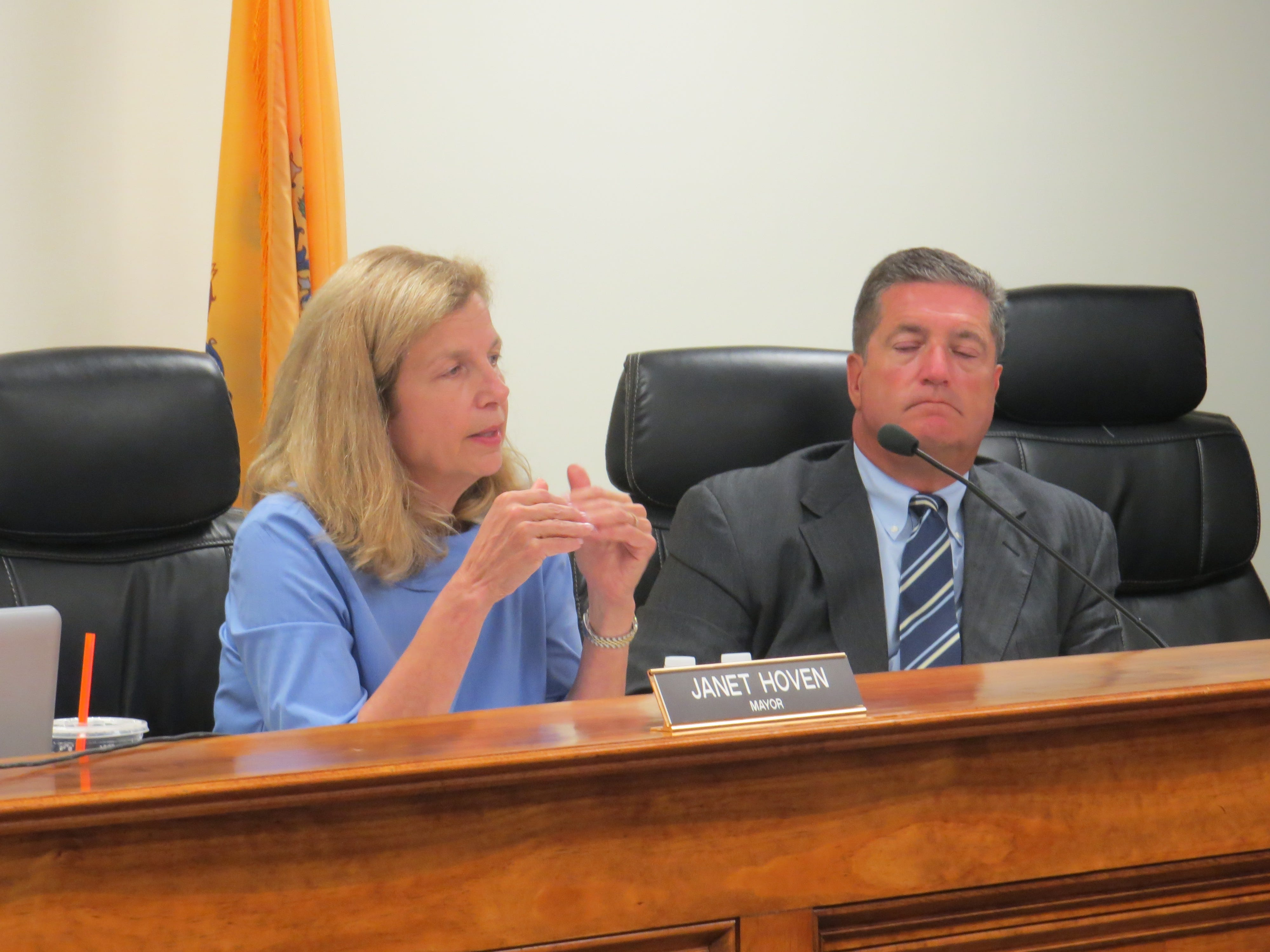 Mayor Janet Hoven and Borough Attorney Brian Mason at the Chester Council meeting Sept. 18, 2018.