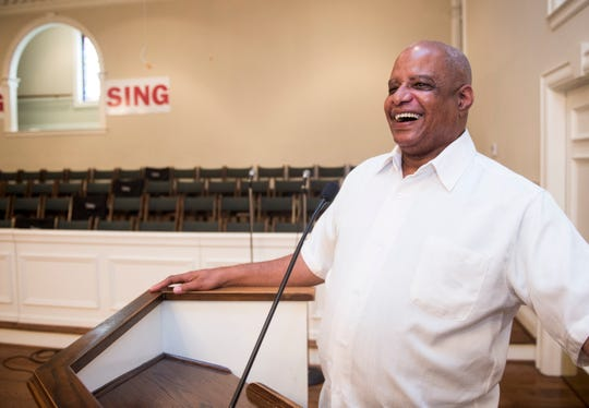 Rev. Willie Welch poses for a picture inside the chapel at First Baptist Church of Greater Washington Park in Montgomery, Ala., on Monday, Sept. 10, 2018.