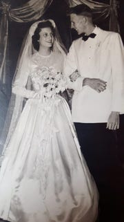 Dot Green and John Hawthorne on their wedding day in 1952 at First Methodist Church.