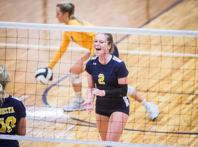 Delta's Natalie Zirkle celebrates a point against Central earlier this season. The Eagles won their sectional opener against Hamilton Heights on Tuesday.
