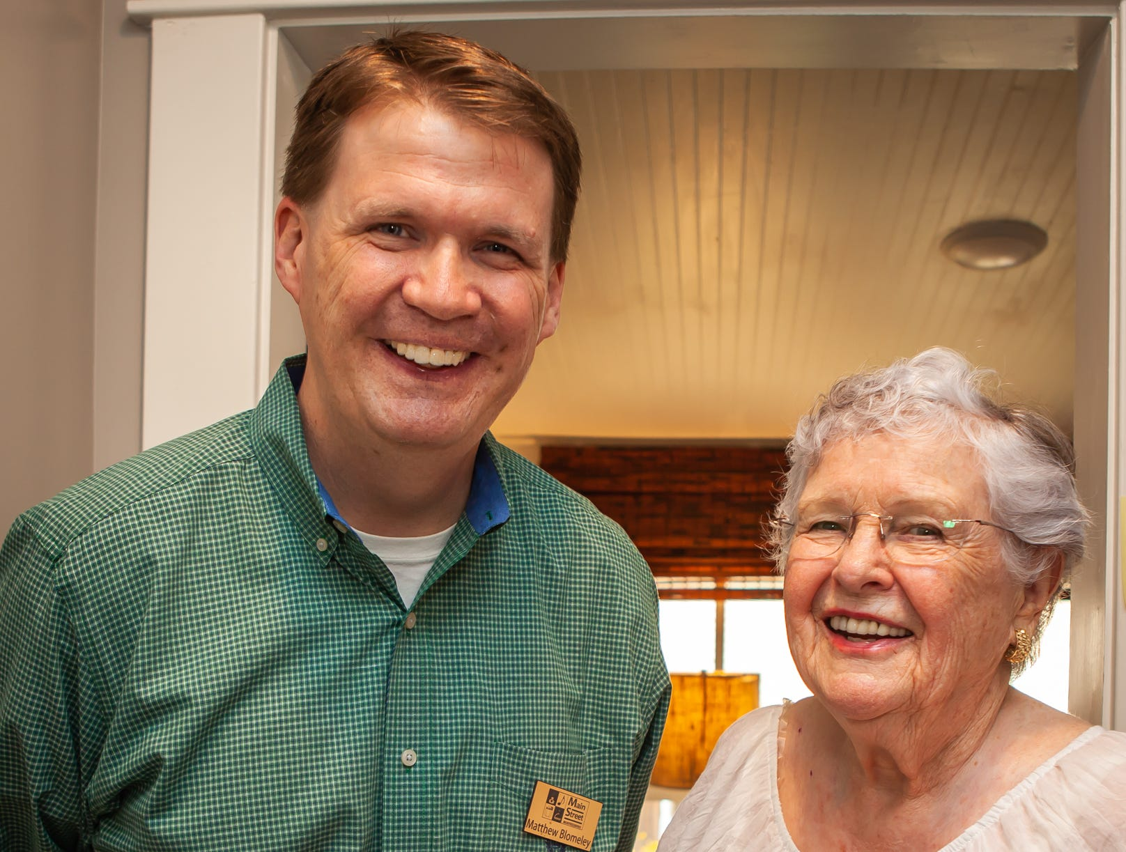 Matthew Blomeley and Mary Baughman at An Evening on Lytle, hosted by Main Street Murfreesboro/Rutherford County. The event was held at the home of Rick and Amy Cottle.