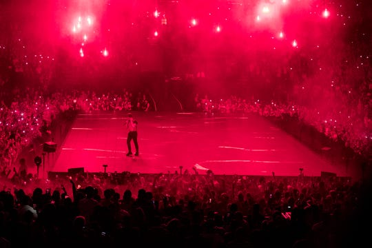Drake performs at Bridgestone Arena during his Aubrey & the Three Migos tour in Nashville on Tuesday, Sept. 18, 2018.