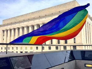A gay pride flag flies during a festival in June 2015 at Public Square Park in downtown Nashville.