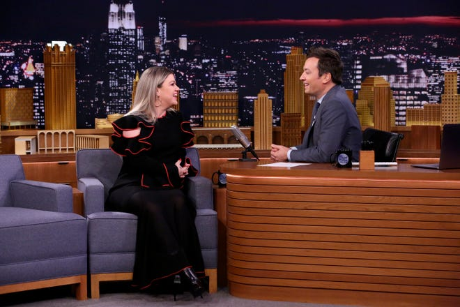 Singer Kelly Clarkson during an interview with host Jimmy Fallon on September 18, 2018.