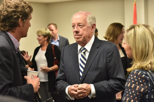 Former Gov. Phil Bredesen talks with attendees for an event hosted by the Chattanooga Chamber of Commerce on Sept. 10, 2018.