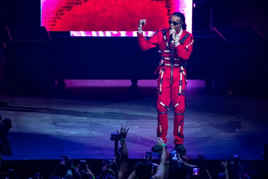 Quavo performs with his group Migos while opening for Drake at Bridgestone Arena in Nashville on Tuesday, Sept. 18, 2018.