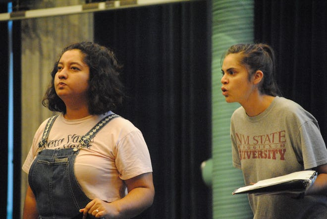"Yamilex Holguin, left, and Jessica Jimenez rehearse a scene from ""The River Bride,"" which opens at 7:30 p.m. Friday, Sept. 21 at New Mexico State University's Mainstage Theatre in the ASNMSU Center for the Arts, 1000 E. University Ave."