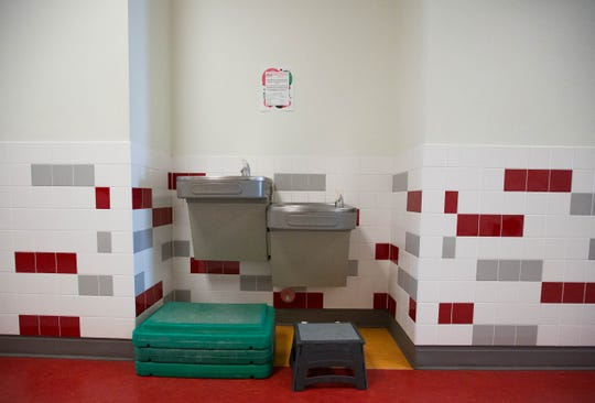 Accommodations for restrooms and drinking fountains set up for Columbia Elementary School Students at Centennial High School in September. As it becomes clear the elementary students will remain in a building designed for older children for another 2 years, the district plans to modify the facilities.