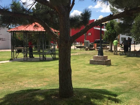 New playground equipment and picnic shelters in Eunice's Marshall Park.