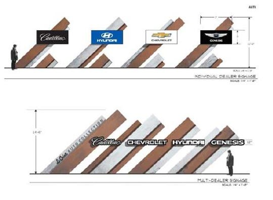 A preliminary rendering of new signage for the La Quinta Auto Center.