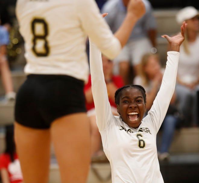 Xavier Preparatory's Teti Omilana celebrates winning the game against Palm Desert High School on September 18, 2018.