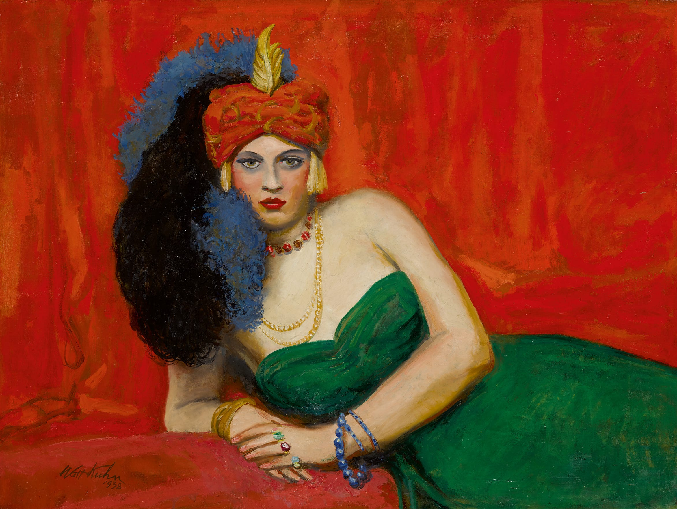 "1938 Walt Kuhn oil on canvas from the Sinatra collection, ""Girl With Turban (Zuleika),"""