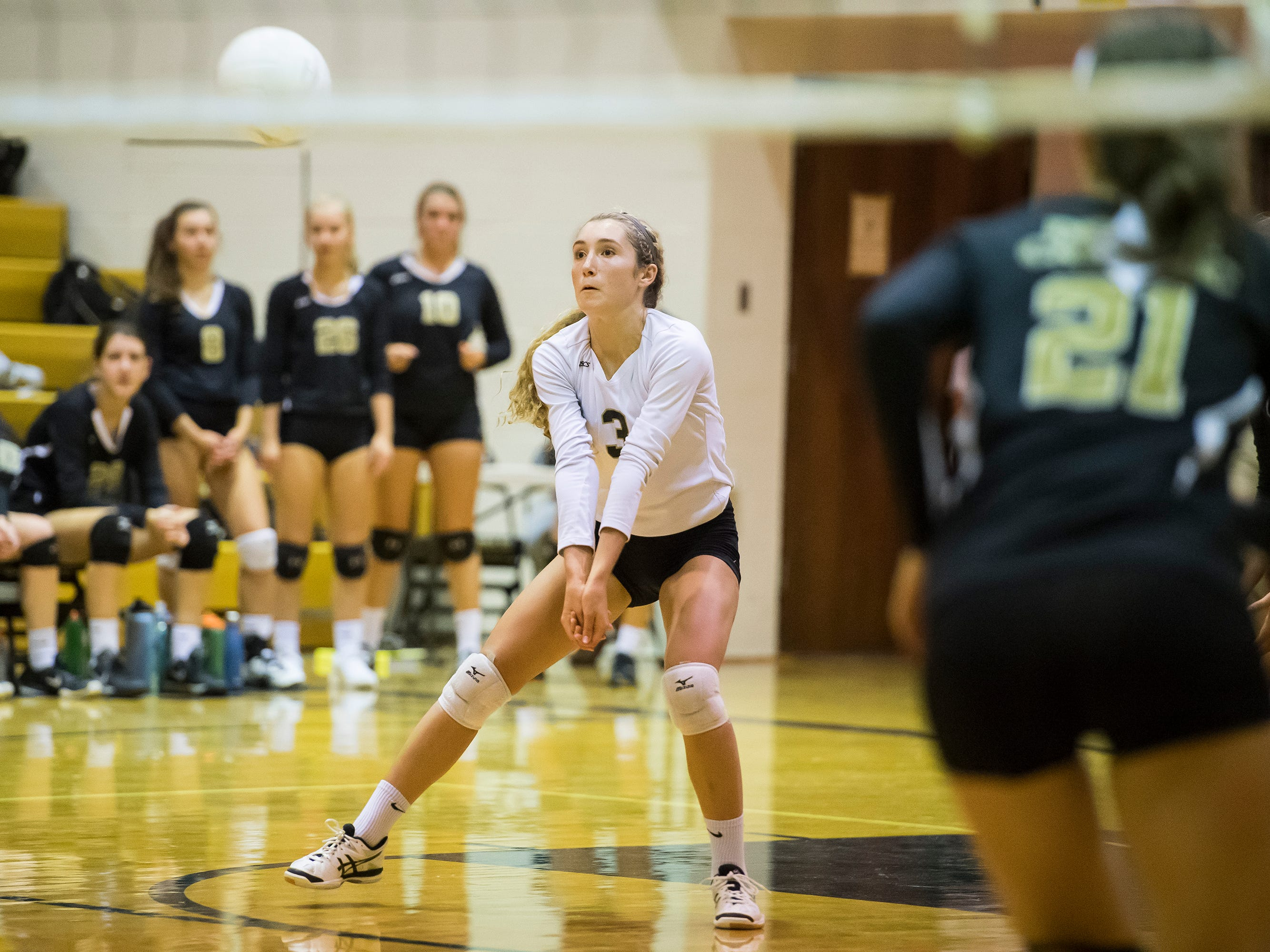 Delone Catholic's Lauren Trummer prepares to hit the ball during play against Hanover on Tuesday, September 18, 2018. The Squirettes swept the Hawkettes 25-16, 25-19, 25-14.