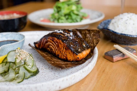 Salmon Teriyaki with pickled cucumbers is also an entree option at Roka Akor.