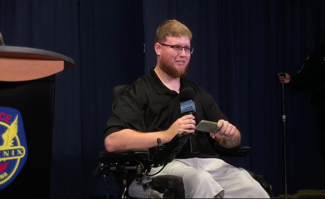 Adam Pepiton, 28, speaks about being  one of the special guest instructors for the partnership between Barrow Neurological Institute and the Phoenix Police