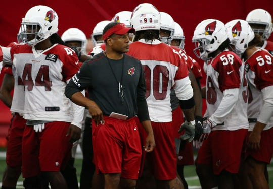 Cardinals coach Steve Wilks looks on during a practice Wednesday in Tempe.