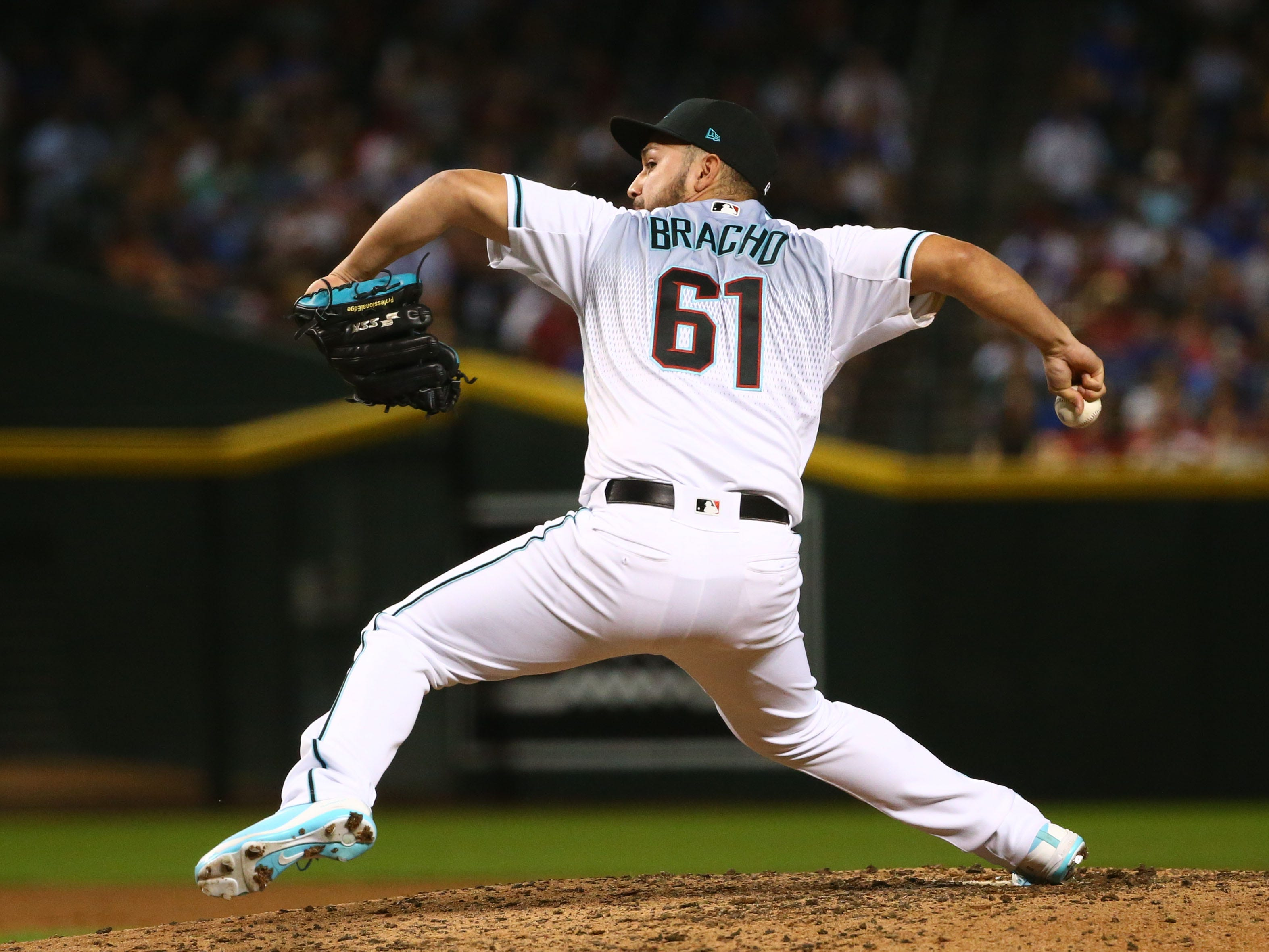 Arizona Diamondbacks pitcher Silvino Bracho throws to the Chicago Cubs in the fifth inning on Sep. 18, 2018, at Chase Field in Phoenix, Ariz.