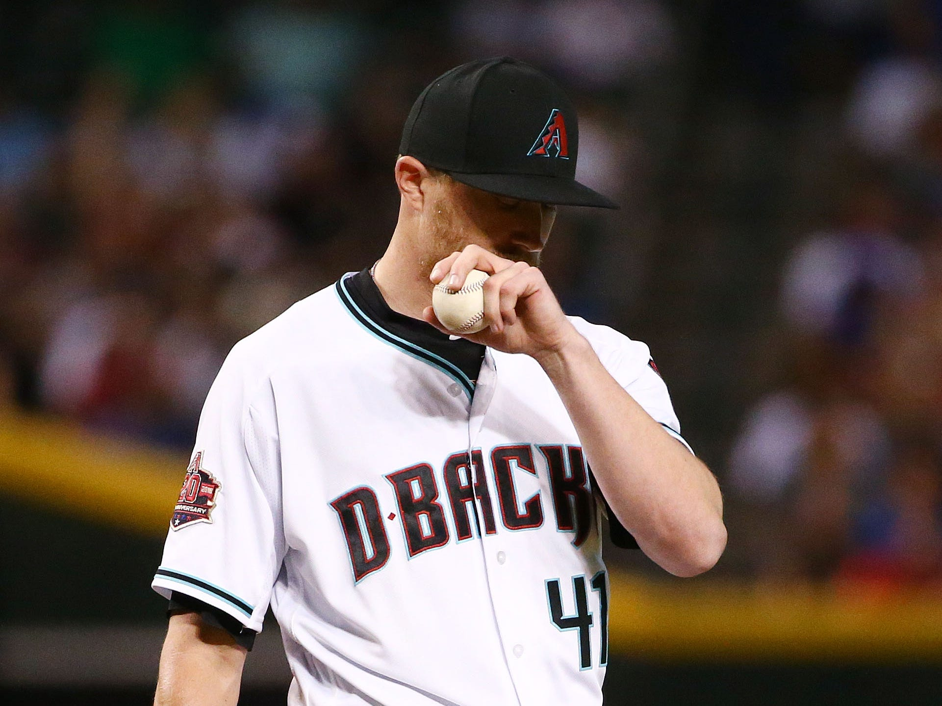 Arizona Diamondbacks pitcher Jake Diekman reacts against the Chicago Cubs in the fifth inning on Sep. 18, 2018, at Chase Field in Phoenix, Ariz.