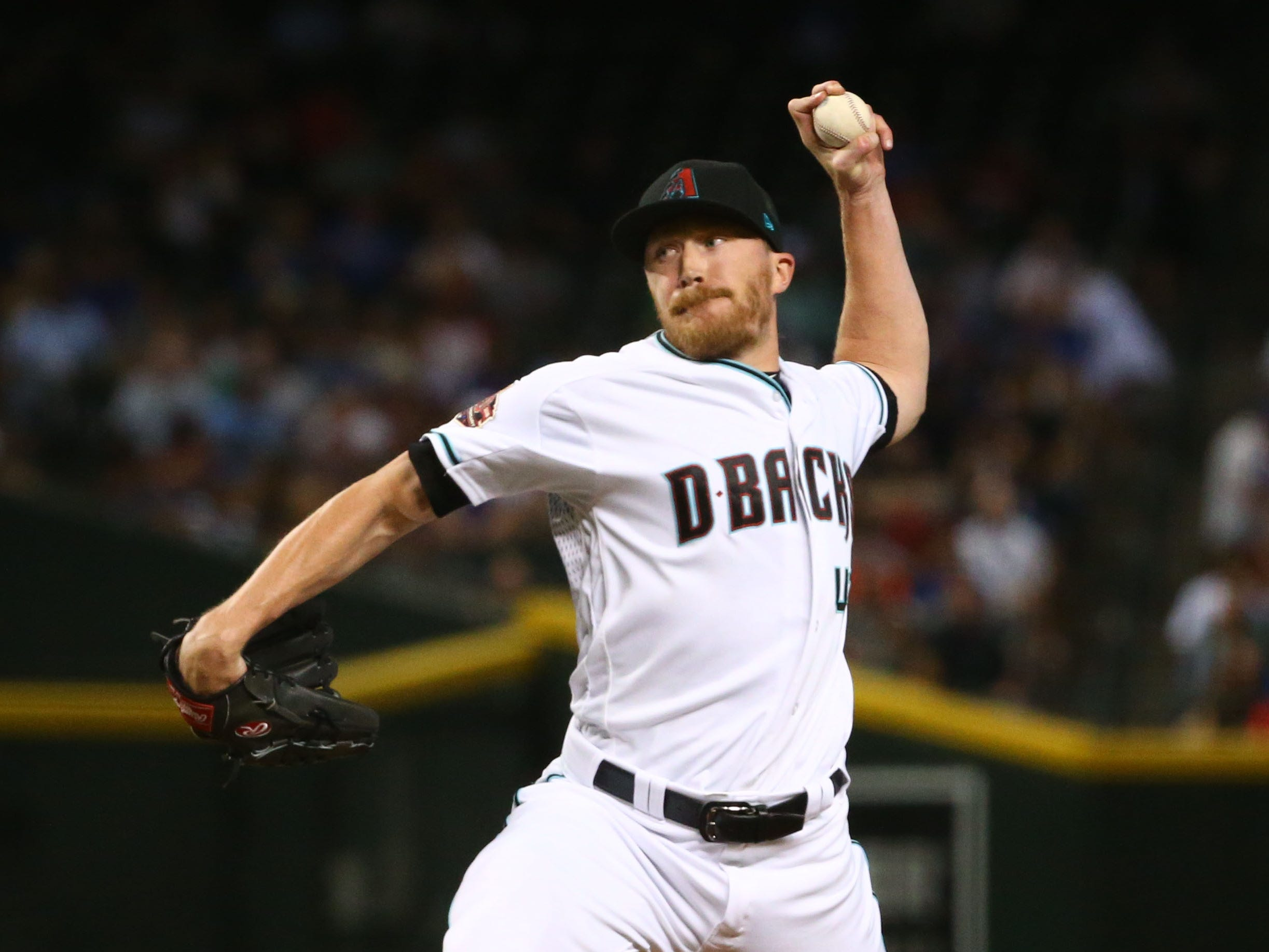 Arizona Diamondbacks reliever Jake Diekman throws to the Chicago Cubs in the fourth inning on Sep. 18, 2018, at Chase Field in Phoenix, Ariz.