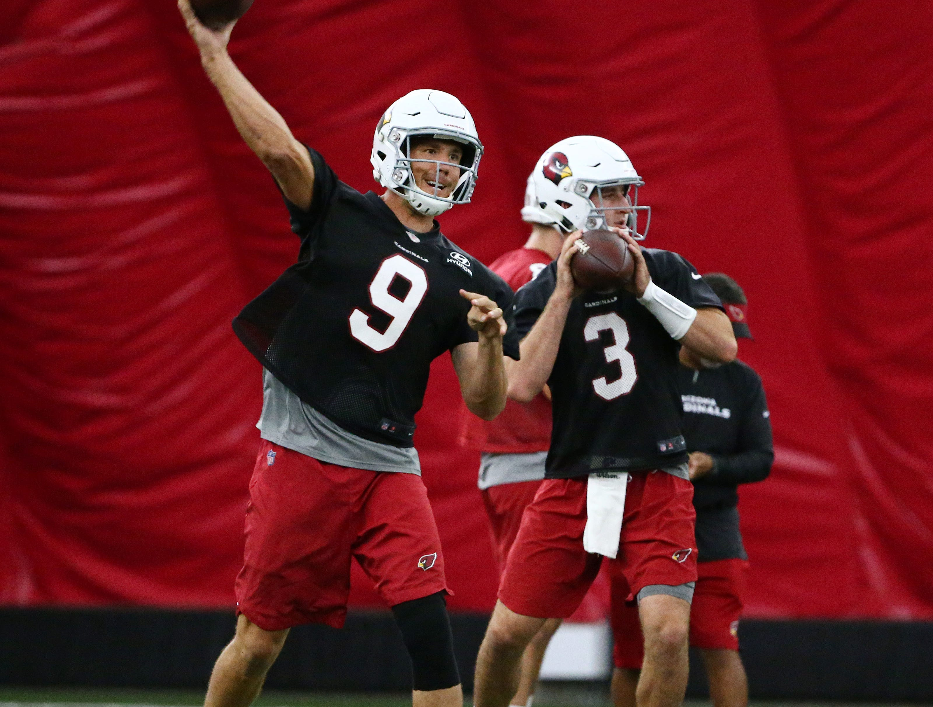 Arizona Cardinals quarterbacks Sam Bradford and Josh Rosen on Sep. 19, 2018 at the Cardinals Training Facility in Tempe, Ariz.