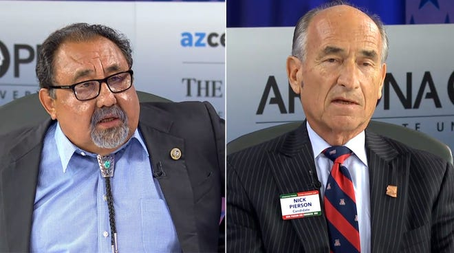 U.S. Rep. Raúl Grijalva and Nick Pierson debate at Arizona PBS on Tuesday, Sept. 18, 2018.