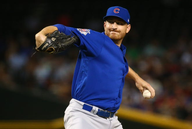 Chicago Cubs pitcher Mike Montgomery throws to the Arizona Diamondbacks in the first inning on Sep. 18, 2018, at Chase Field in Phoenix, Ariz.