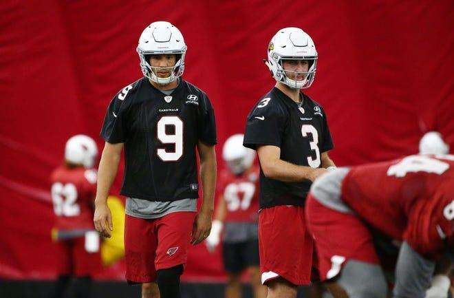 Arizona Cardinals quarterbacks Sam Bradford and Josh Rosen on Sep. 19, 2018 at the Cardinals Training Facility in Tempe, Ariz.