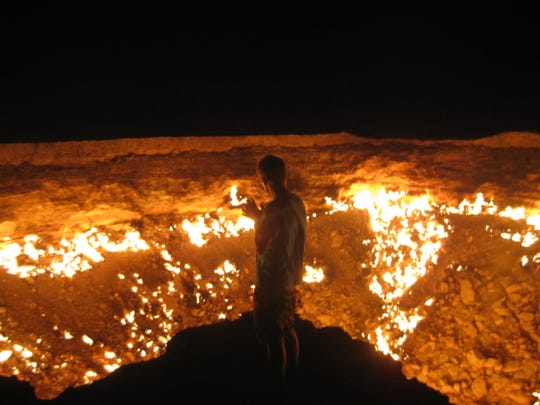When the Soviet Gas Facility in Turkmenistan collapsed, the emitting gas was set on fire. Officials figured it would burn itself out. That was nearly 50 years ago. Thus was born the Gates of Hell. The light can be seen for miles.