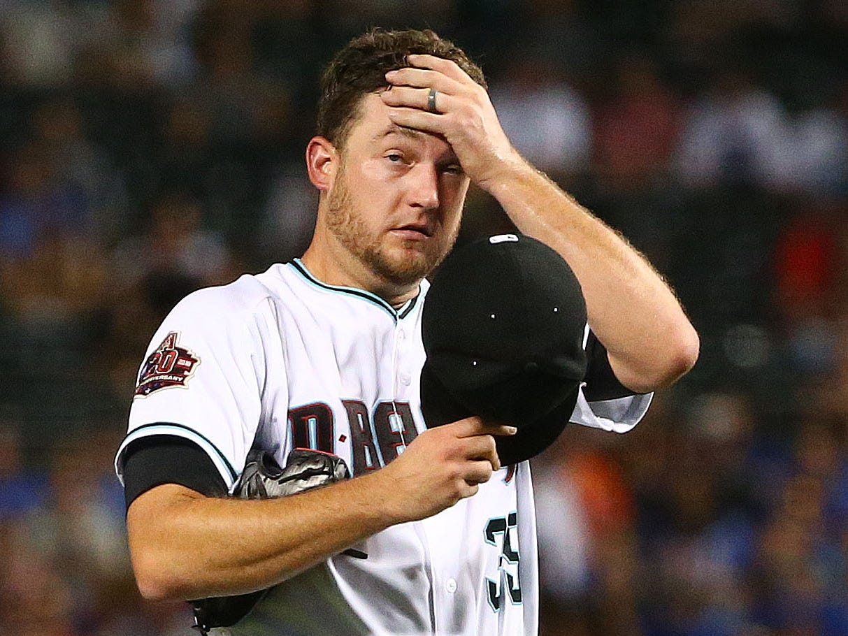 Arizona Diamondbacks pitcher Matt Andriese reacts against the Chicago Cubs in the first inning on Sep. 18, 2018, at Chase Field in Phoenix, Ariz.