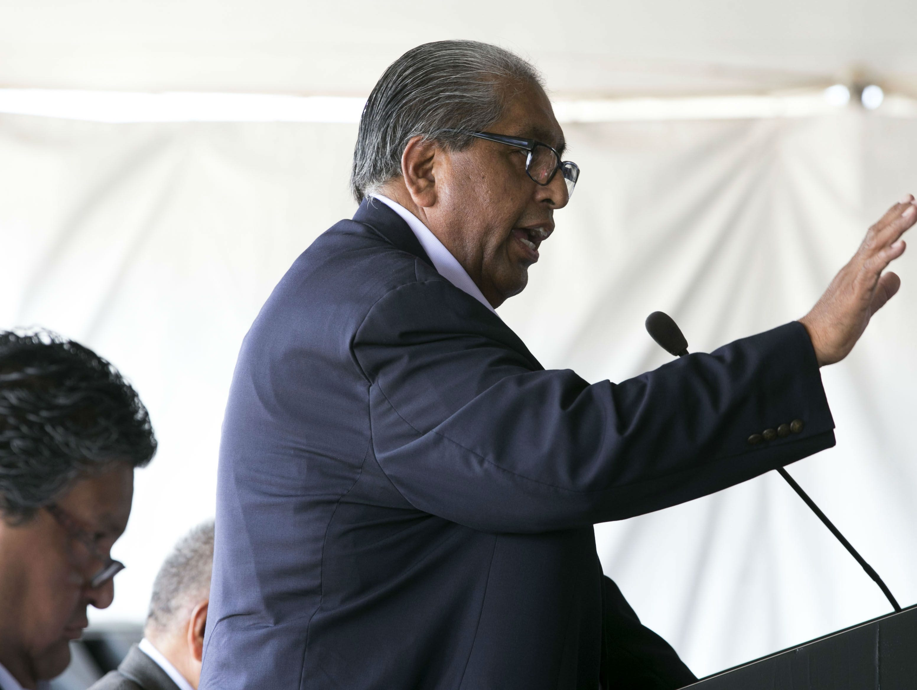 Ned Norris Jr., a former chairman of the Tohono O'odham Nation, speaks during a topping off ceremony to mark a construction milestone in the expansion of the Desert Diamond West Valley Casino in Glendale on Sept. 19, 2018.