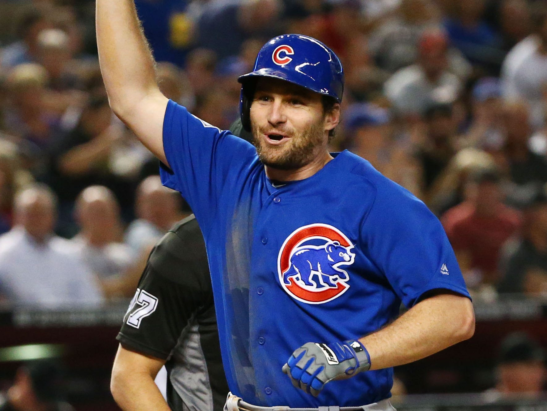 Chicago Cubs 	Daniel Murphy reacts after hitting a 2-run home run against the Arizona Diamondbacks in the second inning on Sep. 18, 2018, at Chase Field in Phoenix, Ariz.