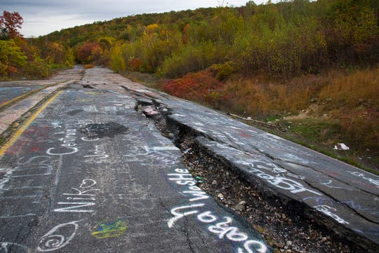 Centralia is a ghost town in Columbia County, Penn. Its population dwindled from over 1,000 residents to a handful today as a result of a mine fire burning beneath the borough since 1962.