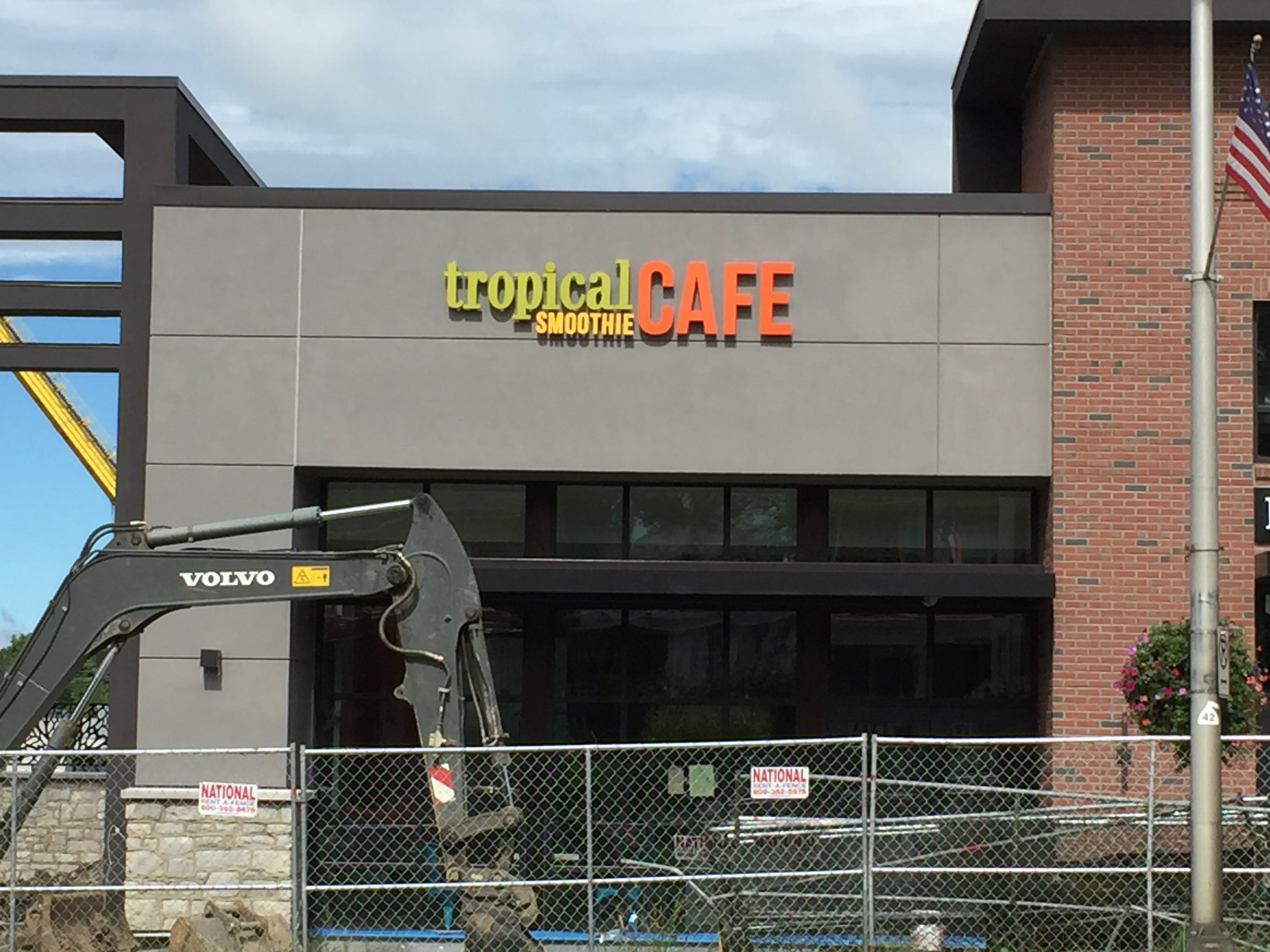 Construction is ongoing outside Tropical Smoothie Cafe.