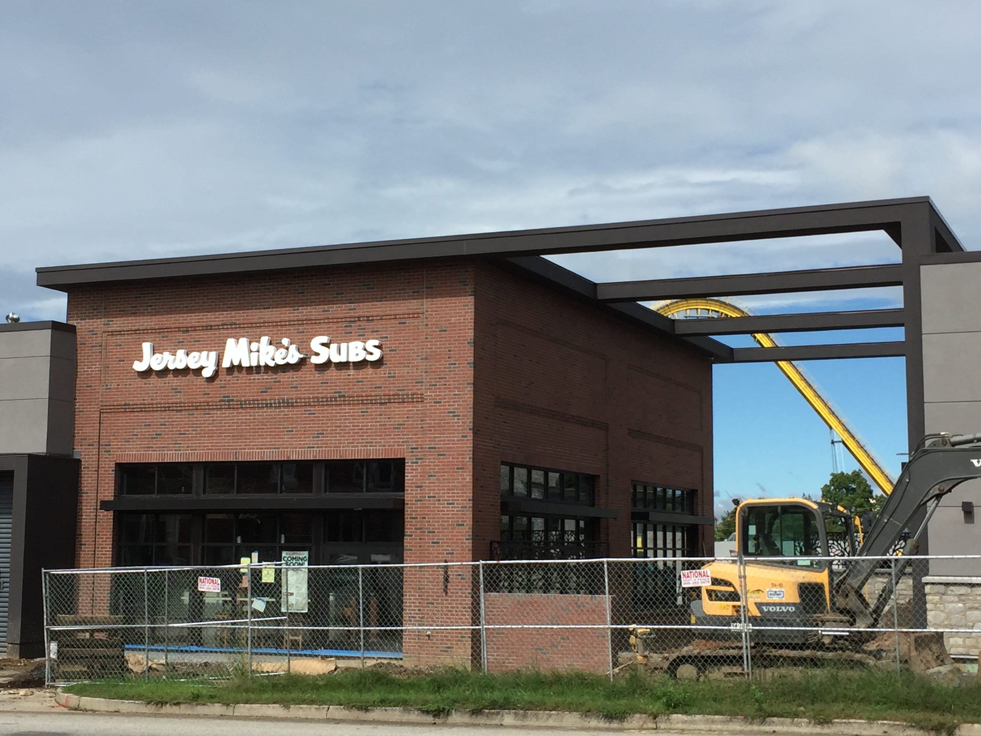 There is still some work to be done on the walks outside Jersey Mike's.