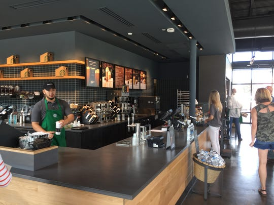 Starbucks was already bustling with activity despite being the only store open at Hershey Towne Square.