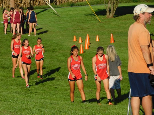 Dozens of varsity runners were competing in a cross country meet at Falling Spring Elementary on Tuesday afternoon as, nearby, the Public Utility Commission held a public hearing on the proposed Transource power line project.