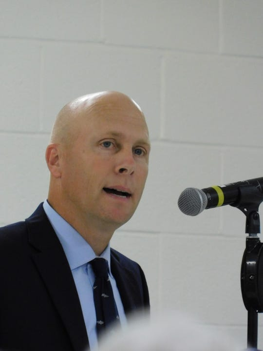 Rob Russell, a self-employed pilot from Greencastle, spoke Tuesday afternoon at a public hearing on the Transource power line project. He asked representatives of the Public Utility Commission if the power line project would actually create capabilities that don't already exist.