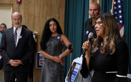 Democrat Delma Rivera-Lytle, candidate for the 93rd State Legislative District holds a campaign kick-off at Goodwill Fire Company in Jacobus, Tuesday, Sept. 18, 2018.  Governor Tom Wolf and Mayor John Fetterman, Democratic candidate for Lt. Governor, attended the kick-off in support of Rivera-Lytle. John A. Pavoncello photo