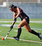Central York's Victoria Whitehead moves the ball down the field in the Panthers' 5-2 win over Red Lion Wednesday. Whitehead, a freshman, scored two goals in the win. Dawn J. Sagert photo