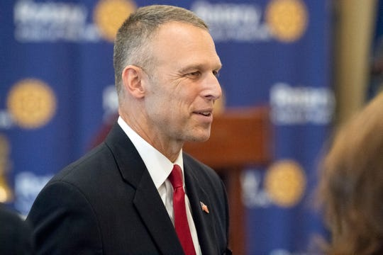 U.S. Rep. Scott Perry, R-York County, speaks with members of the Rotary Club of York following a debate against Democratic challenger George Scott at the Country Club of York on Wednesday, September 19, 2018. The 10th Congressional District boundaries encompass the cities of Harrisburg and York. The Supreme Court of Pennsylvania redrew the district in 2018 after ruling the previous map unconstitutional.