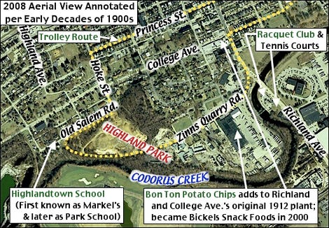 """This map, from Stephen H. Smith's blog """"YorksPast,"""" shows the approximate location of Highland Park."""
